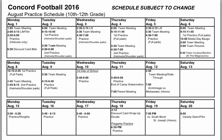 Football Practice Plan Template Best Of 30 Of Football Practice Schedule Template