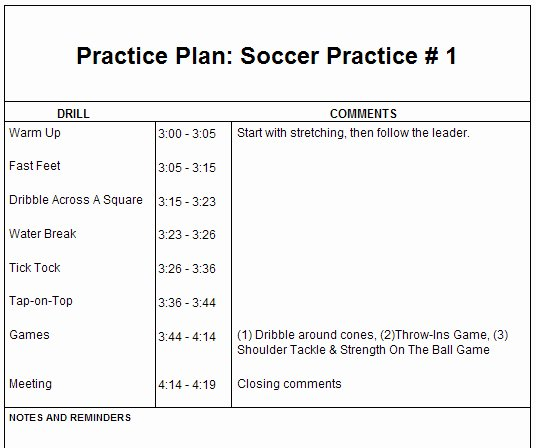 Football Practice Plan Template Lovely Basketball Training Session Program todayyellowjk Over