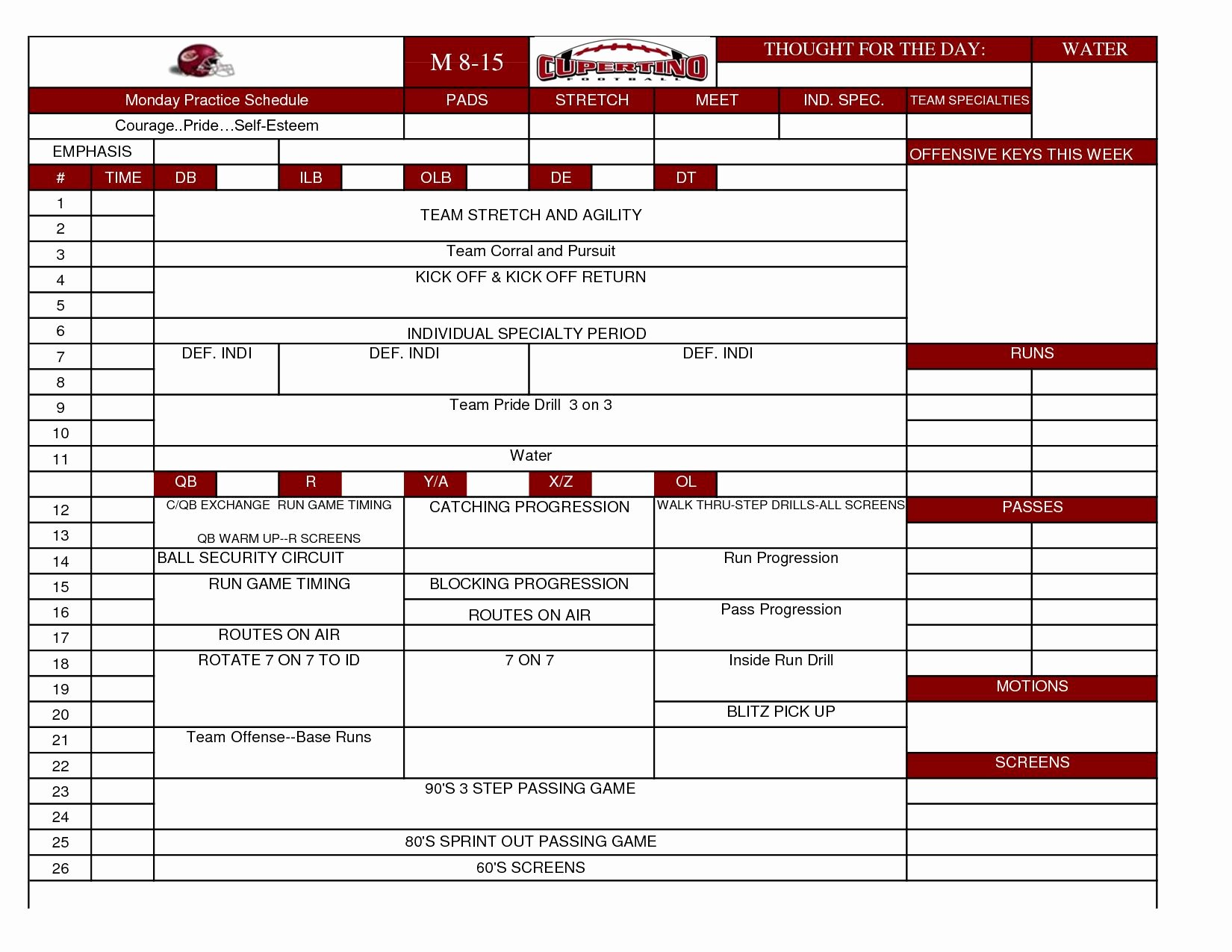 Football Practice Plan Template New Football Practice Template Excel Heritage Spreadsheet