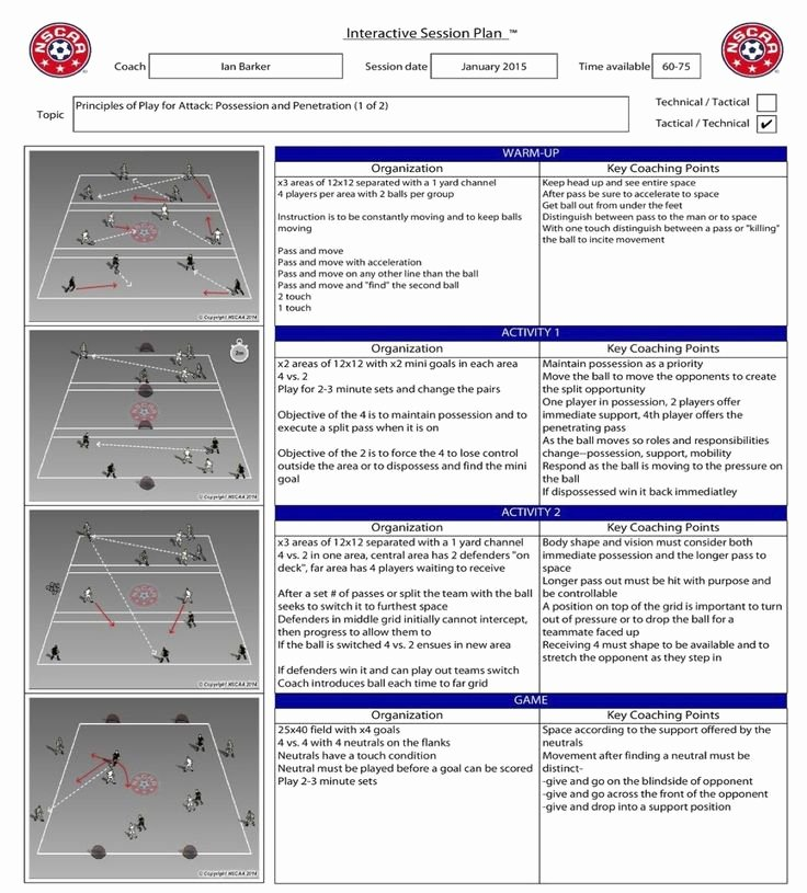 Football Session Plan Template Lovely Ian Barker Session Nscaa Football