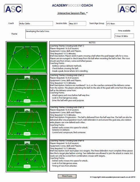 Football Session Plan Template Unique soccer Practice Lesson Plan Template Shmpfo