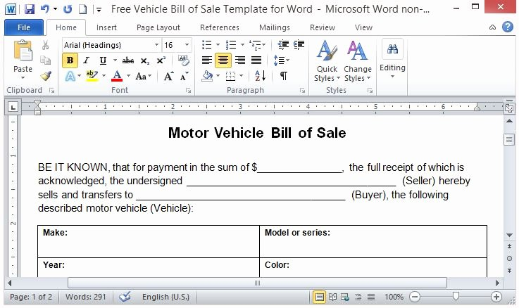 For Sale Word Template Lovely Free Vehicle Bill Sale Template for Word