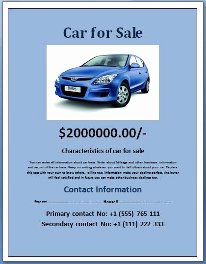 For Sale Word Template Lovely Sample Car for Sale Poster Flyer Template