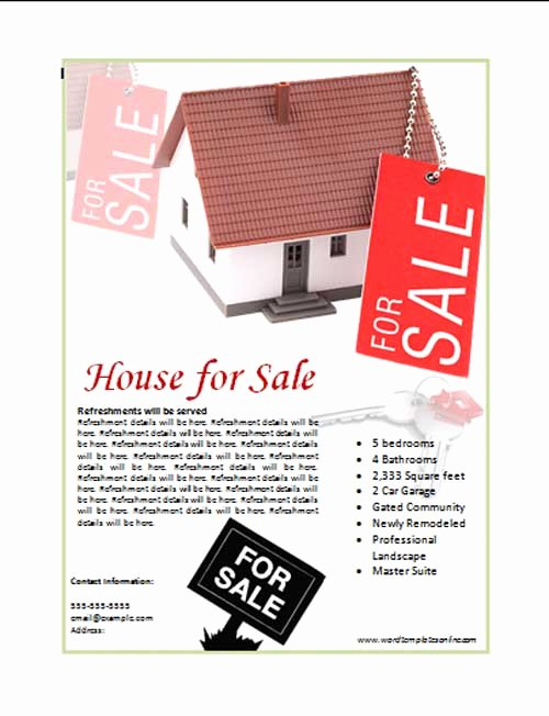 For Sale Word Template New House for Sale Poster Template Microsoft Word Templates