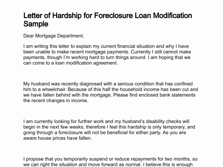 Foreclosure Letter Templates Beautiful Letter Of Hardship