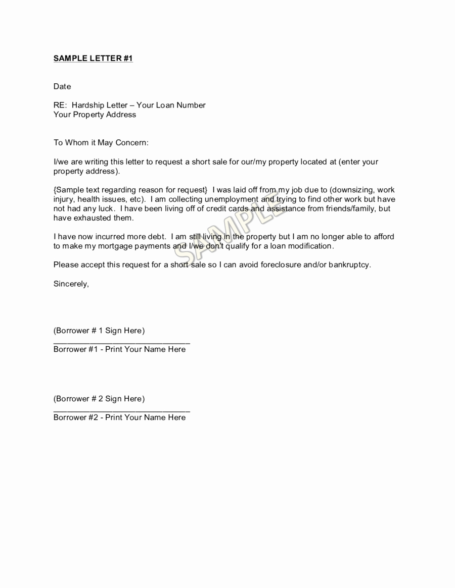 Foreclosure Letter Templates Lovely Business Hardship Letter Example to Pin On