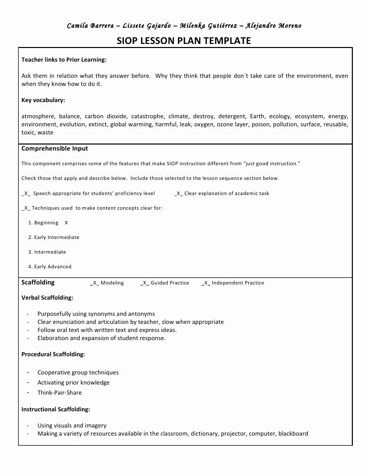 Foreign Language Lesson Plan Template Beautiful Siop Unit Lesson Plan Template Sei Model