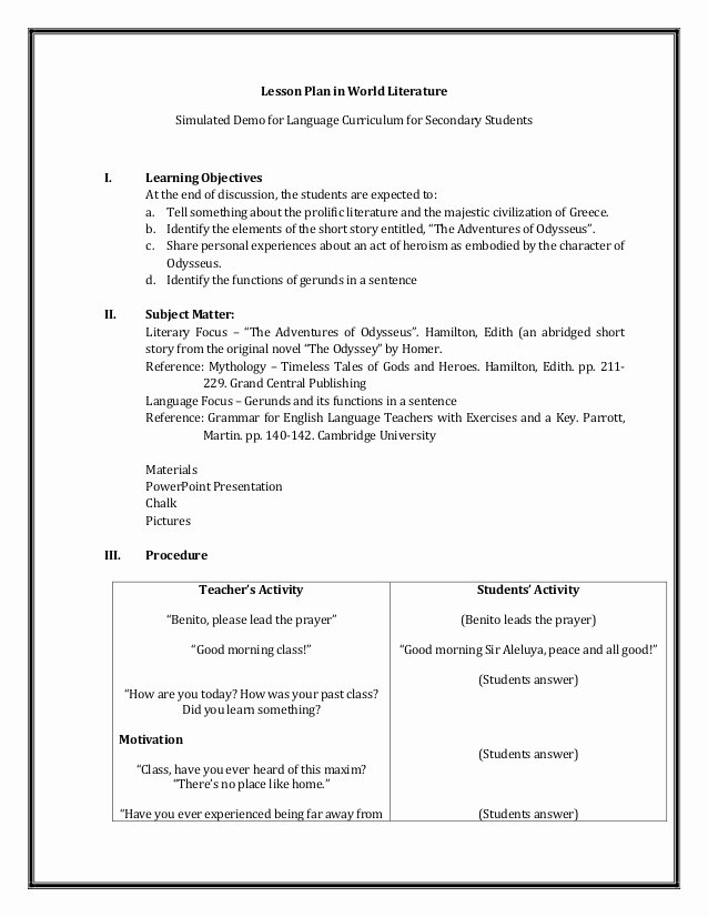 Foreign Language Lesson Plan Template Lovely A Detailed Lesson Plan In World Literature