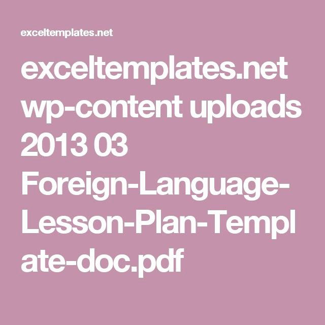 Foreign Language Lesson Plan Template New 1000 Ideas About Lesson Plan Template Doc On Pinterest
