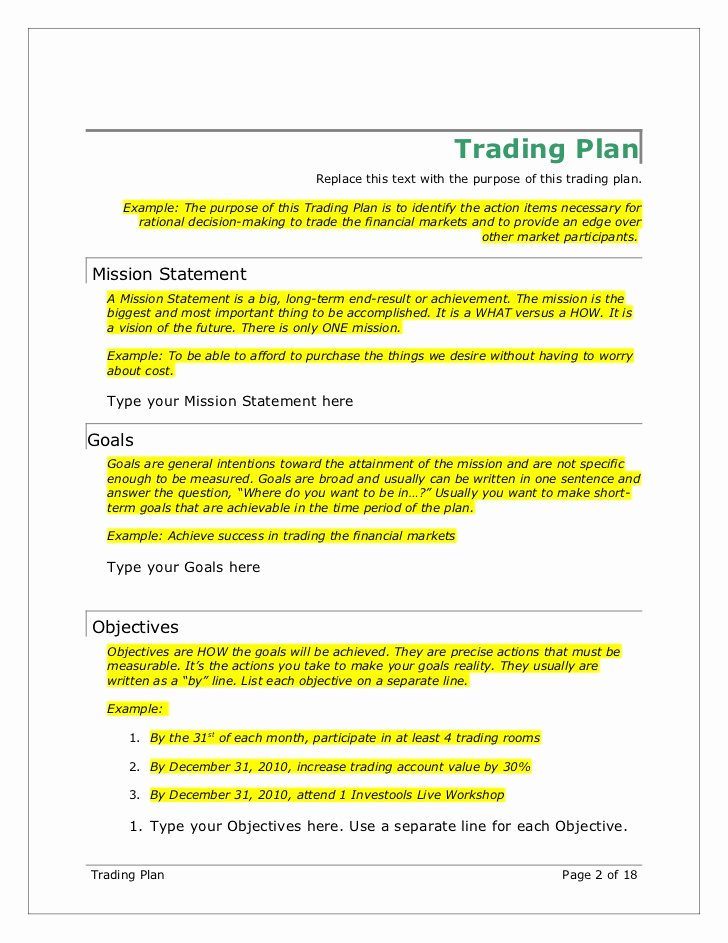 Forex Trading Plan Template Beautiful Trading Plan