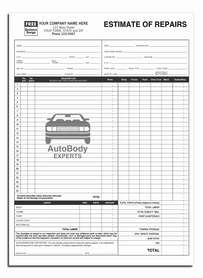 Formal Estimate Template Awesome Auto Body Repair Estimate Template