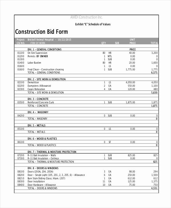 Formal Estimate Template Lovely Sample Construction form 21 Free Documents In Word Pdf