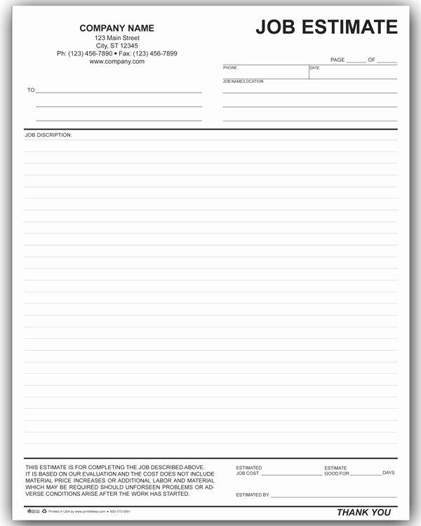Formal Estimate Template Luxury Job Estimate form