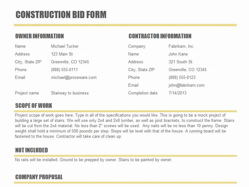 Formal Estimate Template Unique Pdf Free Construction Proposal Template