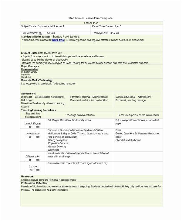 Formal Lesson Plan Template Elegant Lesson Plan Template 14 Free Word Pdf Documents