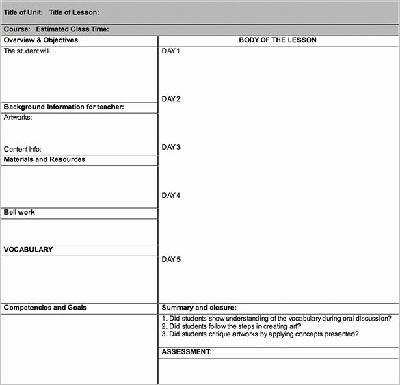 Formal Lesson Plan Template Inspirational Lesson Plan Outline Templates 11 Free Sample Example