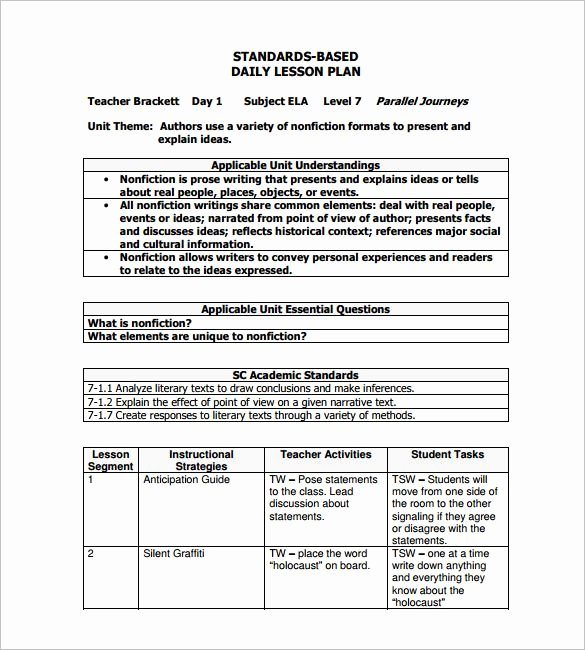 Formal Lesson Plan Template Lovely Daily Lesson Plan Template – 12 Free Sample Example
