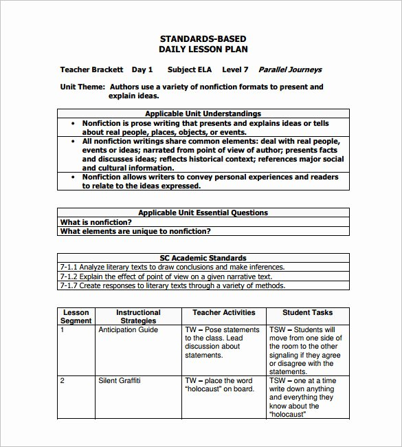 Formal Lesson Plan Template Unique Daily Lesson Plan Template 14 Free Pdf Word format