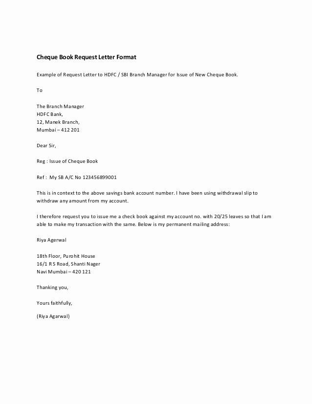 Formal Letter format for Request Unique Cheque Book Request Letter format