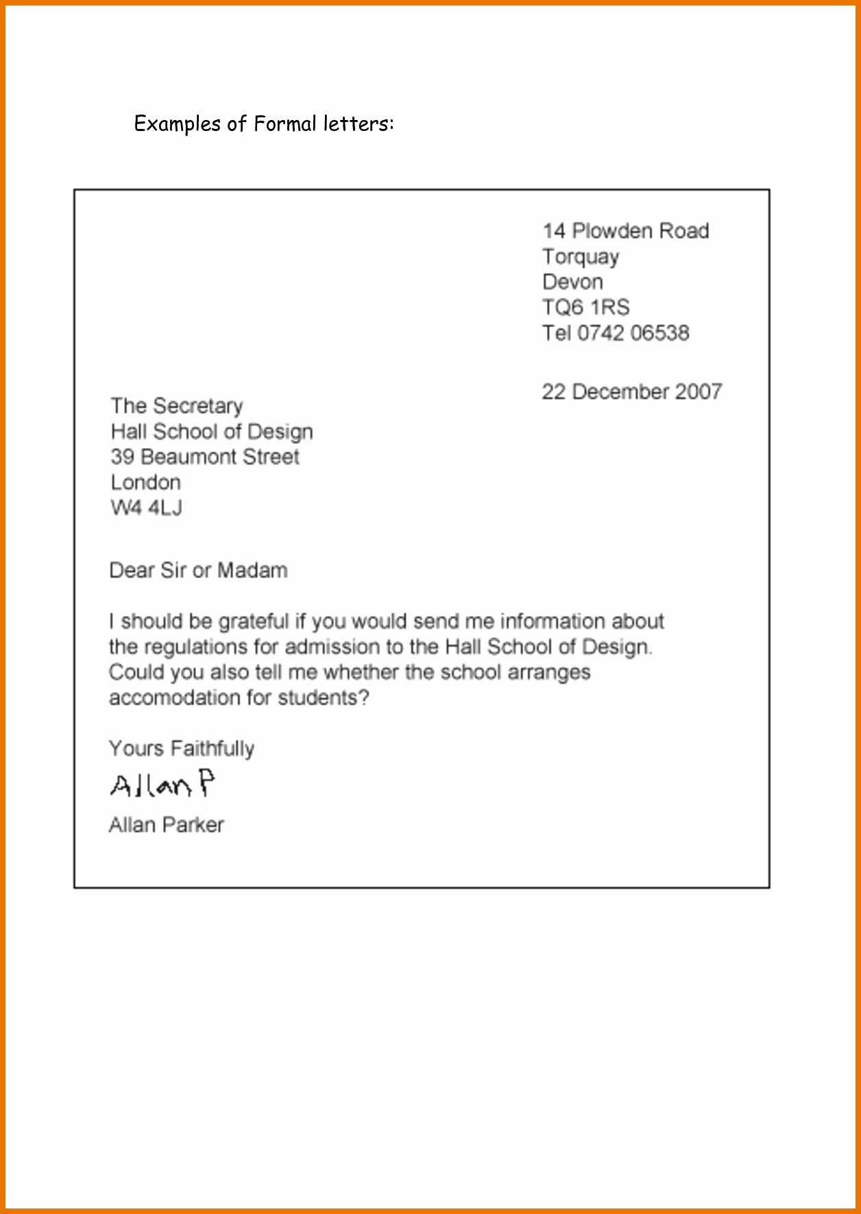 Formal Letter format for School Best Of formal Letter format for School