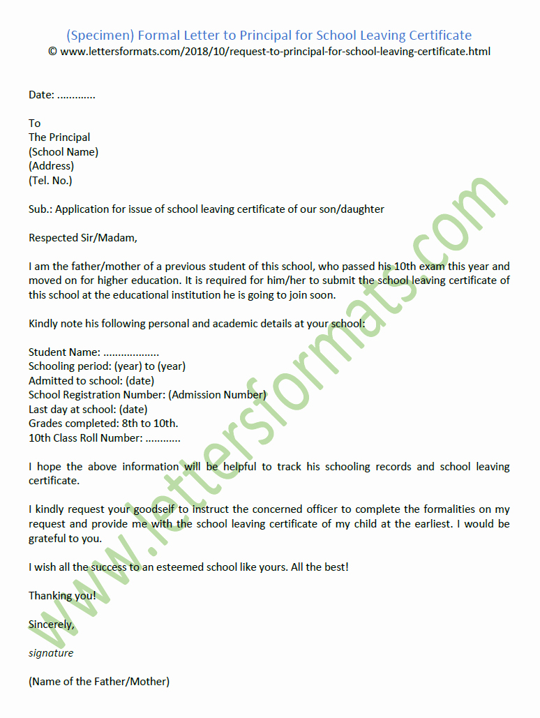 Formal Letter format for School Luxury formal Letter to Principal for School Leaving Certificate