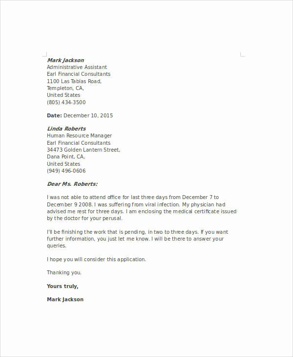 Formal Letter format for School New 10 Sample formal Excuse Letters Pdf Word
