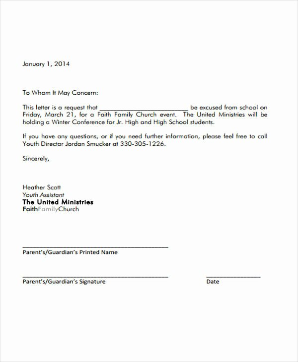 Formal Letter format for School Unique 10 Sample formal Excuse Letters Pdf Word