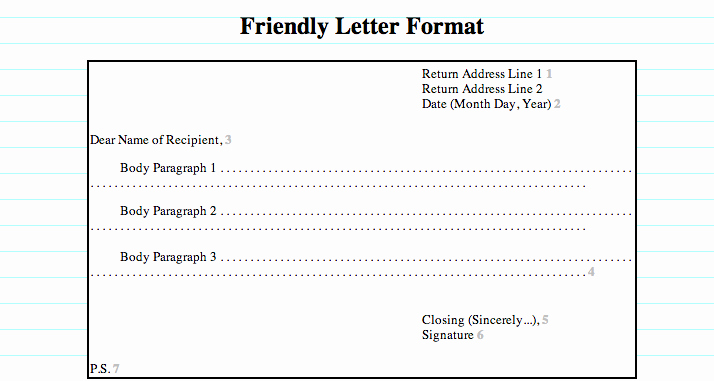 Format Of A Friendly Letter Awesome Friendly Letter format Heading