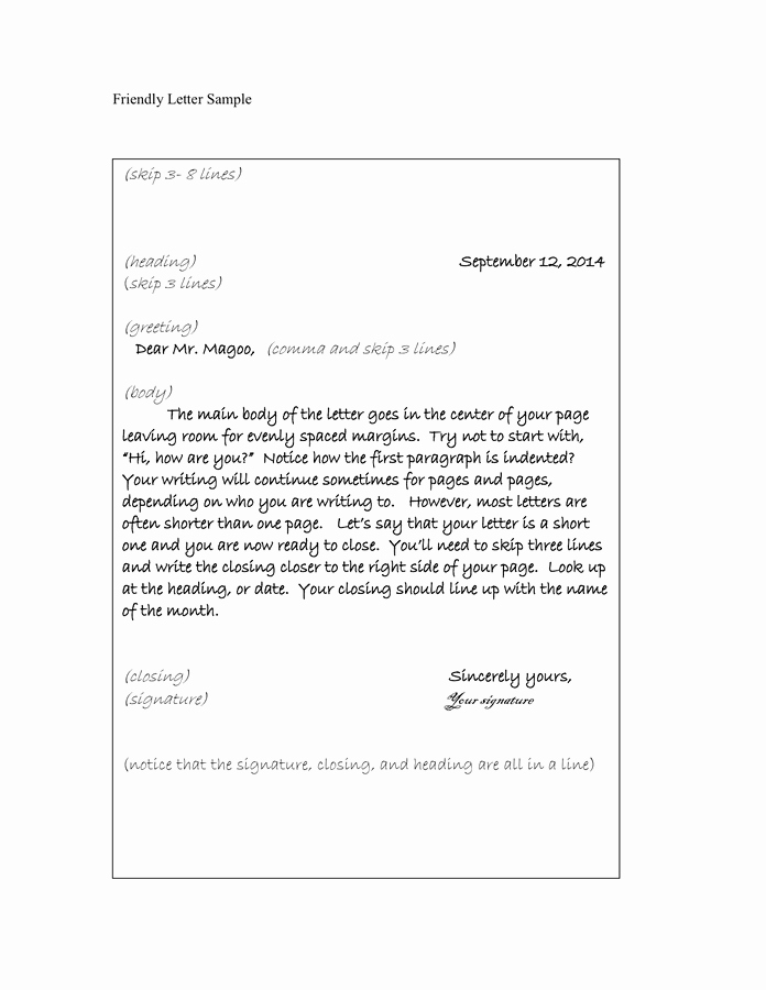 Format Of A Friendly Letter Beautiful Friendly Letter Sample In Word and Pdf formats