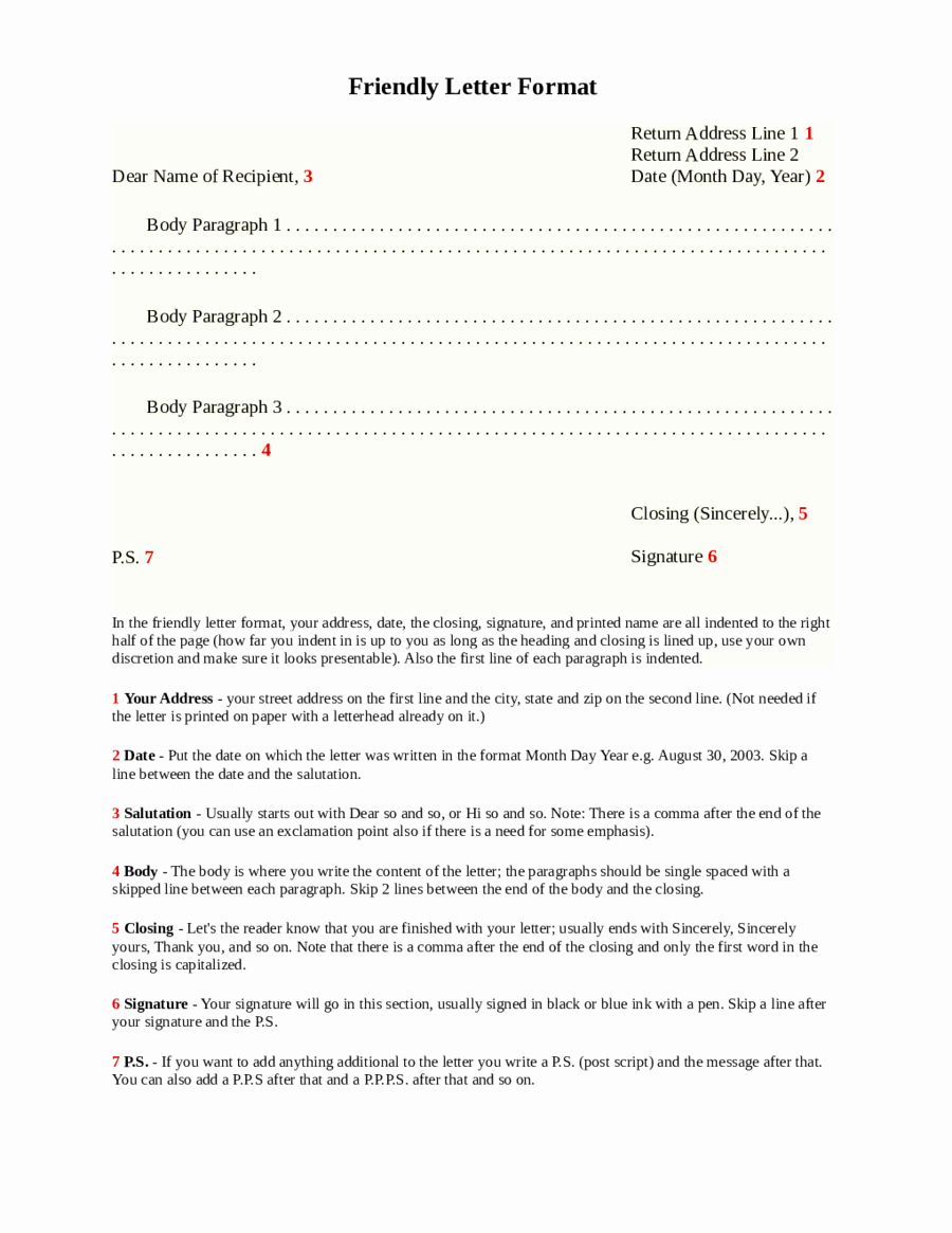 Format Of A Friendly Letter Best Of 2019 Friendly Letter format Fillable Printable Pdf