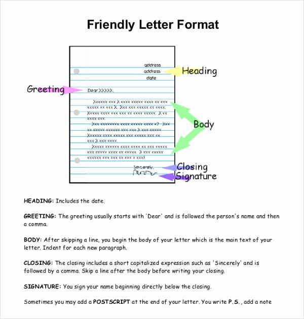 Format Of A Friendly Letter Elegant 9 Friendly Letter format Templates