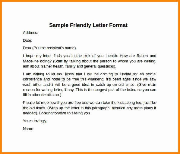 Format Of A Friendly Letter Luxury 8 Example Friendly Letter format Penn Working Papers