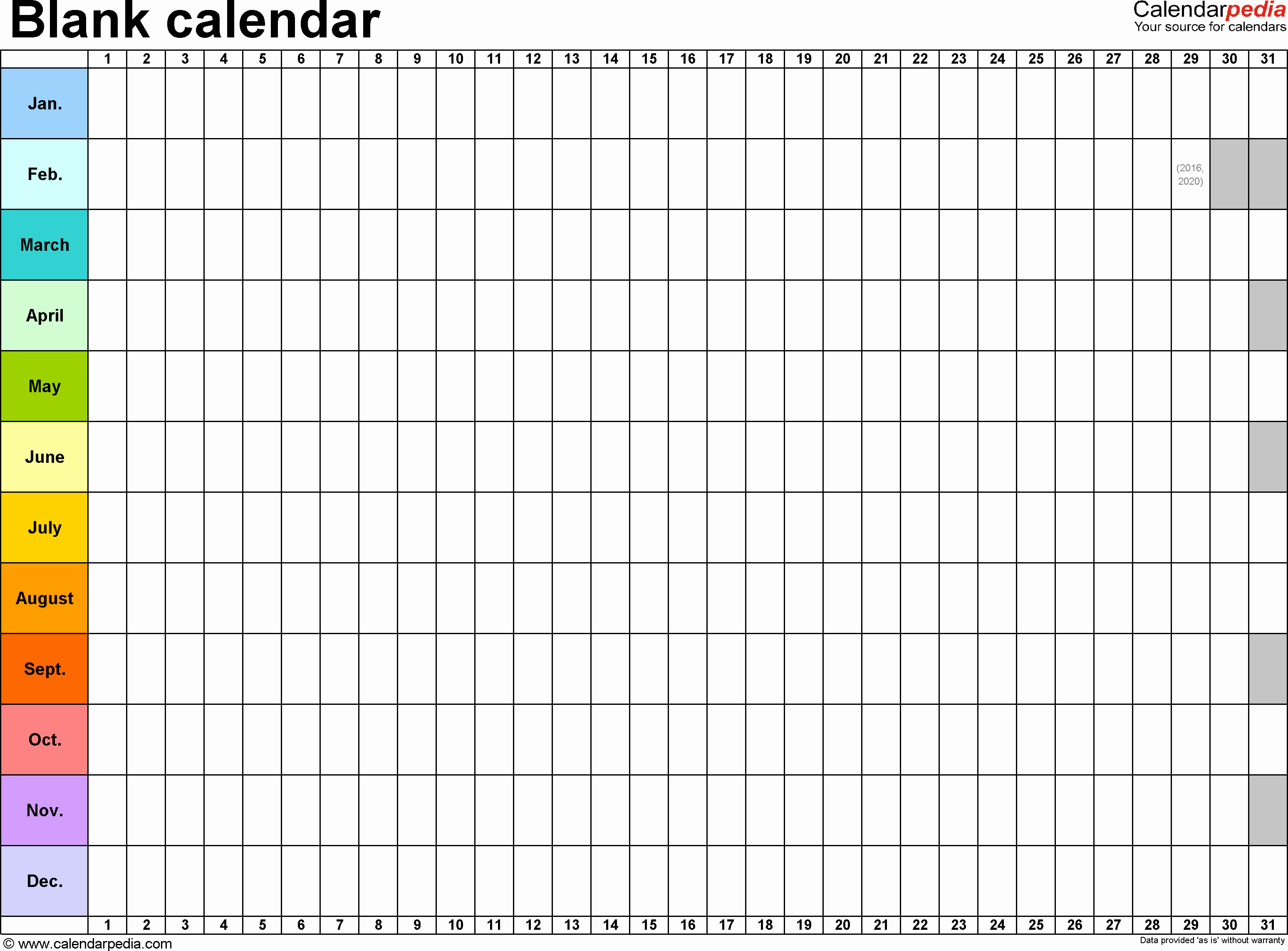 Four Year Plan Template Excel Elegant Template 2 Excel Template for Blank Calendar Landscape