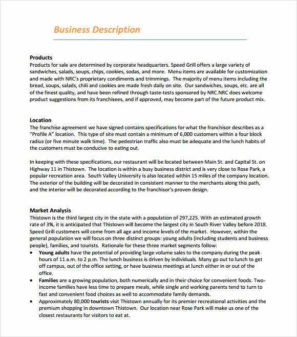 Franchise Business Plan Template Fresh 13 Sample Restaurant Business Plan Templates to Download