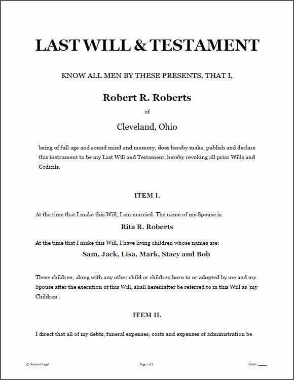 Free Blank Will forms Awesome Printable Sample Last Will and Testament Template form