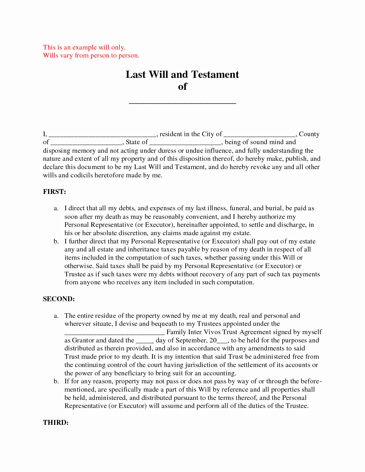 Free Blank Will forms Best Of Unique Free Printable Last Will and Testament Blank forms