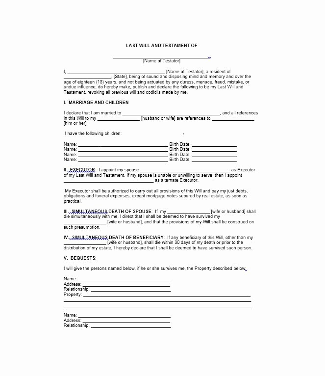 Free Blank Will forms Elegant 39 Last Will and Testament forms & Templates Template Lab