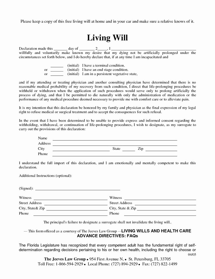 Free Blank Will forms Fresh Free Copy Of Living Will by Richard Cataman Living Will