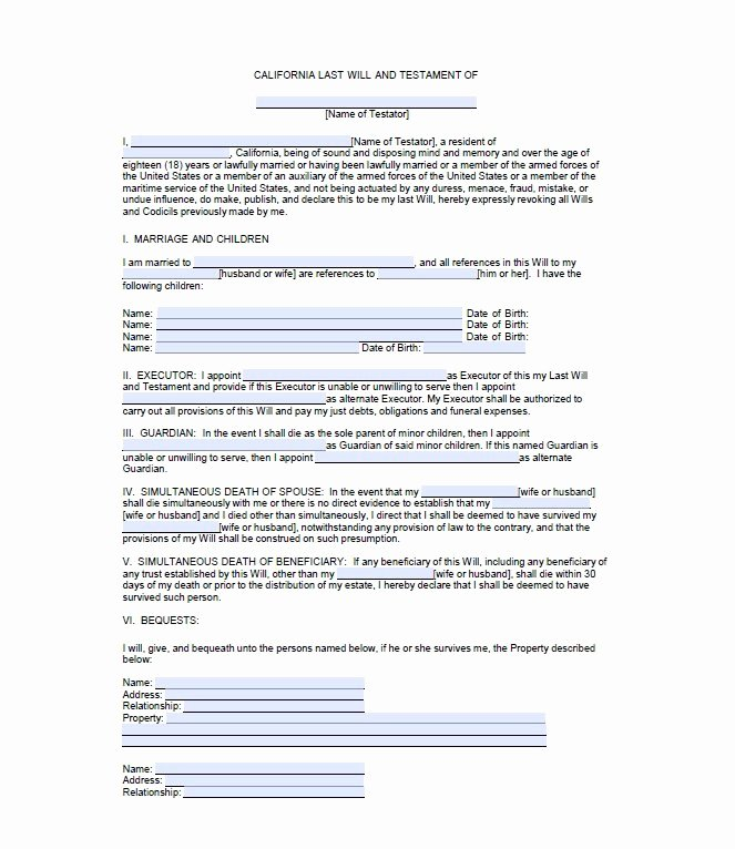 Free Blank Will forms New 39 Last Will and Testament forms & Templates Template Lab
