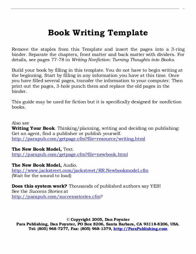 Free Book Writing Template Unique Book Writing Layout Template