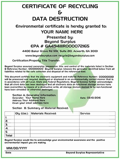 Free Certificate Of Destruction Template Awesome atlanta Electronics Recycling & Free Puter Disposal