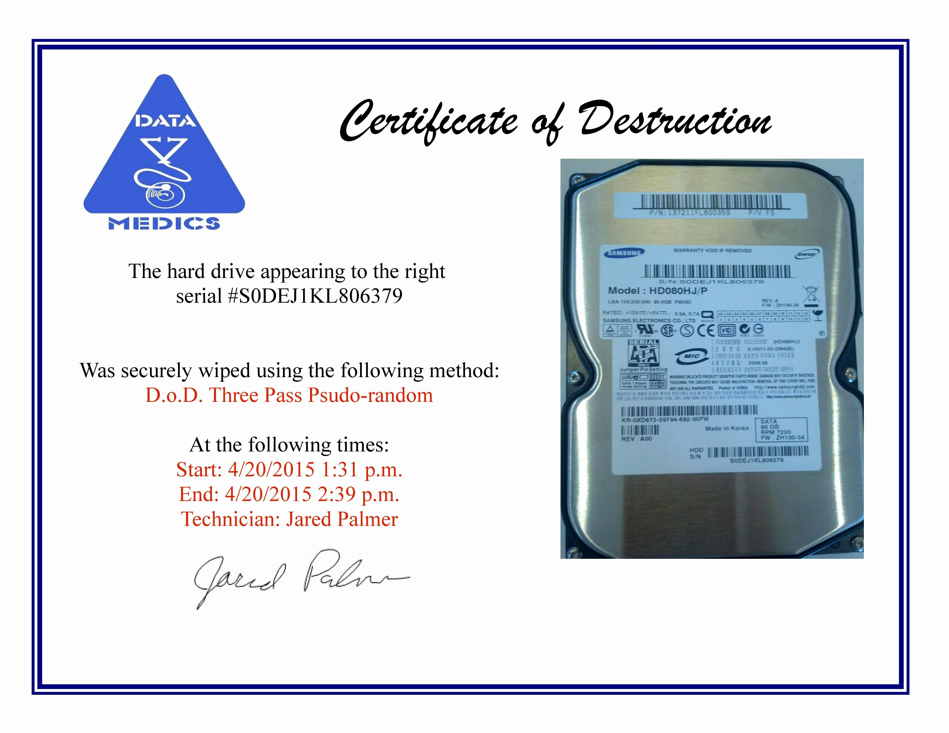 Free Certificate Of Destruction Template Awesome Free Hard Drive Wiping Services Hdd Destruction