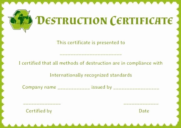 Free Certificate Of Destruction Template Beautiful 8 Best Certificate Of Destruction Images On Pinterest