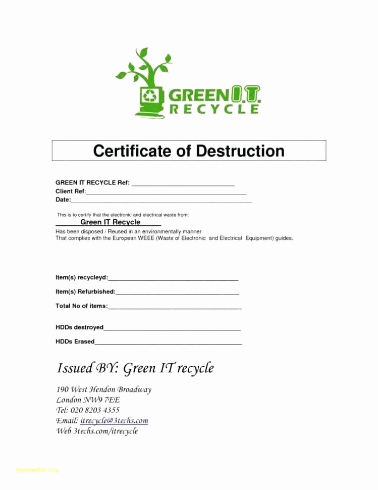 Free Certificate Of Destruction Template Beautiful Letter Destruction Template formal Certificate Letter