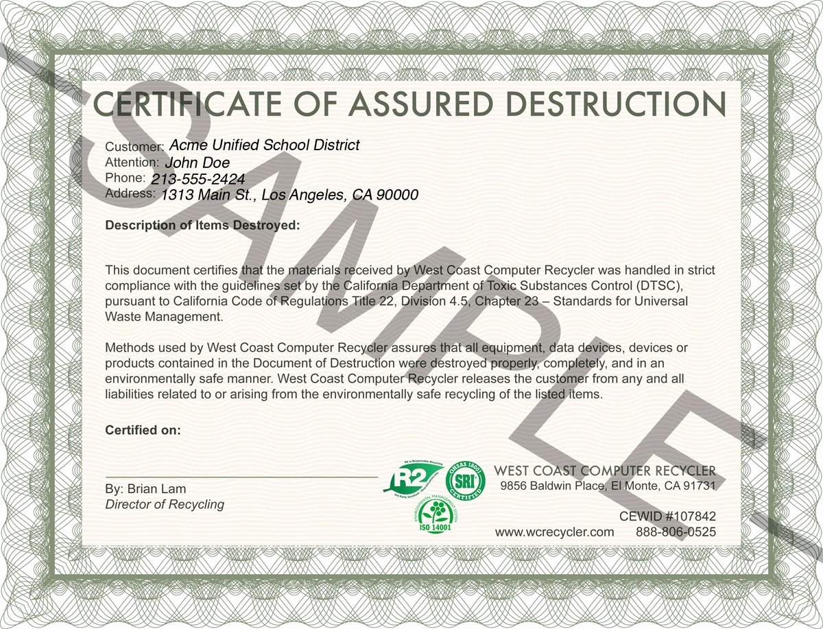 Free Certificate Of Destruction Template Best Of Certifications Insurance