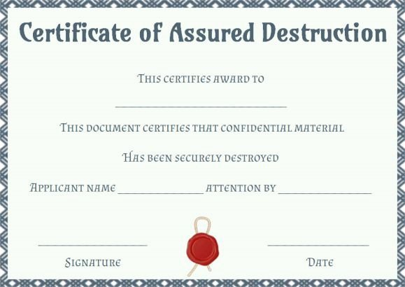 Free Certificate Of Destruction Template Best Of Download Free Certificate Destruction Template – Free