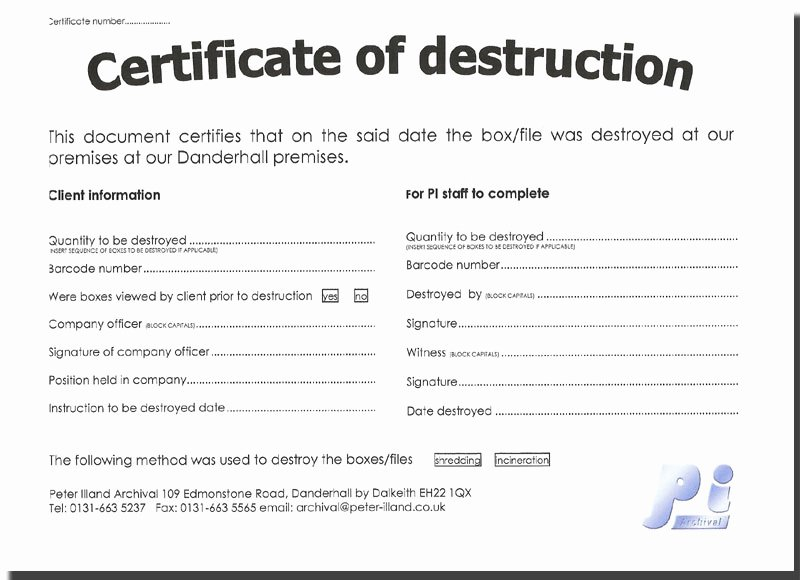Free Certificate Of Destruction Template Inspirational Untitled Document [ Illand]