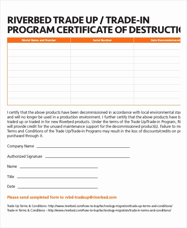 Free Certificate Of Destruction Template Lovely Certificate Destruction Template 12 Pdf Word Ai