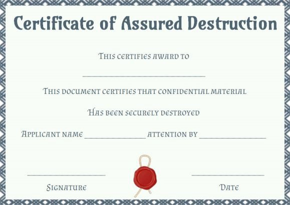 Free Certificate Of Destruction Template Luxury 8 Free Customizable Certificate Of Destruction Templates
