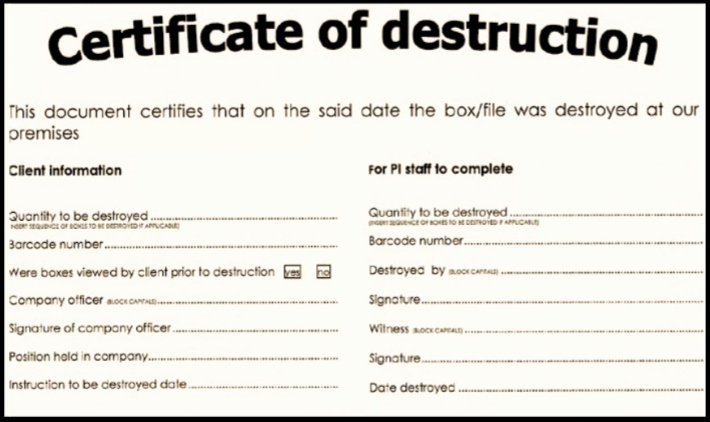 Free Certificate Of Destruction Template Luxury Certificate Of Destruction for Document Shredding